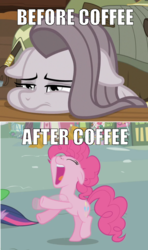 Size: 584x984 | Tagged: safe, edit, edited screencap, screencap, pinkie pie, spike, twilight sparkle, the ticket master, yakity-sax, caption, coffee, hyperactive, image macro, meme, text