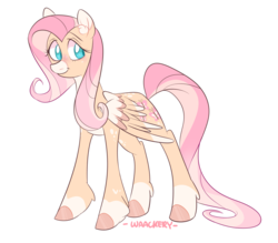 Size: 2671x2343 | Tagged: safe, artist:waackery, fluttershy, pegasus, pony, alternate design, colored hooves, colored wings, ear fluff, female, looking sideways, mare, simple background, smiling, snip (coat marking), socks (coat marking), solo, standing, three quarter view, transparent background, two-tone mane, wings