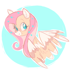 Size: 2062x2170 | Tagged: safe, artist:waackery, fluttershy, pegasus, pony, alternate design, bust, colored wings, female, flower, flower in hair, head turn, looking at you, looking sideways, mare, portrait, smiling, snip (coat marking), solo, two-tone mane, wings