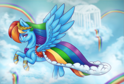 Size: 1800x1215 | Tagged: artist:eternalsubscriber, clothes, cloud, cloudsdale, cute, dashabetes, dress, flying, gala dress, pegasus, pony, rainbow, rainbow dash, rainbow dash always dresses in style, safe, solo