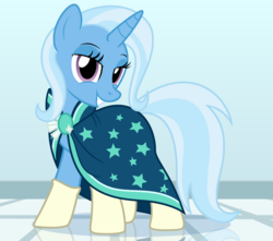 Size: 2177x1928 | Tagged: safe, artist:badumsquish, derpibooru exclusive, trixie, pony, unicorn, accessory swap, bedroom eyes, cape, clothes, crossdressing, female, grin, horn, laundromat, lidded eyes, looking at you, mare, ponies wearing sunburst's socks, pose, reflection, robe, show accurate, smiling, socks, sunburst's cloak