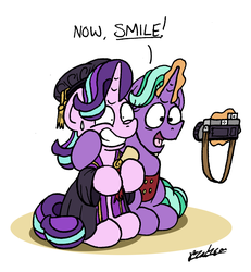 Size: 1409x1527 | Tagged: artist:bobthedalek, atg 2019, camera, clothes, father and daughter, fathers gonna father, female, firelight, forced smile, glowing horn, graduation, hat, horn, magic, male, newbie artist training grounds, pony, safe, scroll, starlight glimmer, telekinesis, tudor cap, unicorn