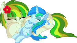 Size: 9573x5356 | Tagged: safe, artist:cyanlightning, oc, oc only, oc:cyan lightning, oc:green lightning, pegasus, pony, unicorn, .svg available, absurd resolution, blushing, clothes, colt, cute, duo, eyes closed, female, flower, flower in hair, folded wings, male, mare, mother and son, ocbetes, scarf, simple background, sleeping, smiling, transparent background, vector, wings