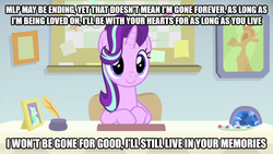 Size: 1845x1038 | Tagged: safe, edit, edited screencap, screencap, starlight glimmer, pony, unicorn, starlight the hypnotist, spoiler:interseason shorts, cute, desk, end of an era, end of g4, end of ponies, female, glimmerbetes, guidance counselor, hair flip, hair over one eye, mare, rest in peace, sitting, smiling, solo, starlight's office, text edit, the end is neigh, the ride ends