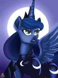 Size: 4000x5401 | Tagged: safe, artist:poecillia-gracilis19, princess luna, alicorn, pony, armor, female, mare, moon, solo, warrior luna