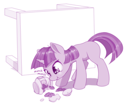 Size: 1280x1118 | Tagged: safe, artist:dstears, twilight sparkle, pony, unicorn, atg 2019, bad pony, behaving like a dog, blank flank, cookie, cookie jar, cute, eating, evil, female, filly, filly twilight sparkle, food, greed, naughty, newbie artist training grounds, pure unfiltered evil, solo, thief, this will end in a time-out, this will end in tummy aches, twiabetes, twilight stealing a cookie, unicorn twilight, younger