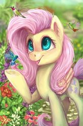 Size: 3716x5669   Tagged: safe, artist:gingerady, fluttershy, hummingbird, pegasus, pony, absurd resolution, cute, female, garden, mare, open mouth, shyabetes