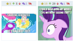 Size: 321x184 | Tagged: safe, edit, edited screencap, screencap, fluttershy, starlight glimmer, pony, unicorn, derpibooru, equestria girls, equestria girls series, i'm on a yacht, spoiler:eqg series (season 2), caption, coincidence, element of kindness, feet, female, floating, flutterfeet, funny coincidence, i've seen some shit, image macro, juxtaposition, juxtaposition win, kindness, mare, meme, meta, pun, sexy, sharing kindness, shocked, song reference, swimming pool, text, theme song, what has been seen, wide eyes, wiggling toes