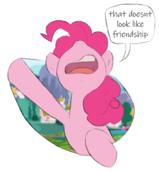 Size: 957x1033 | Tagged: artist:corgitheborki, breaking the fourth wall, earth pony, fourth wall, friendship, pinkie pie, pony, reaction image, safe, simple background, solo, transparent background