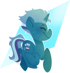 Size: 790x818 | Tagged: artist:daydreamprince, cute, eyes closed, female, icey-verse, magical lesbian spawn, mare, oc, oc only, oc:wondermint, offspring, parent:minuette, parents:minixie, parent:trixie, pony, safe, solo, trotting, unicorn
