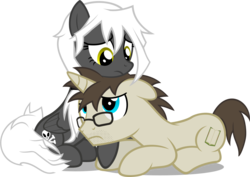 Size: 1725x1220 | Tagged: artist:zacatron94, female, male, mare, oc, oc:blank novel, oc:captain white, oc only, oc x oc, pony, prone, safe, shipping, simple background, stallion, straight, transparent background, vector, whitenovel