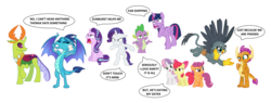 Size: 7960x3016 | Tagged: alicorn, apple bloom, changedling, changeling, changeling x dragon, cutie mark crusaders, dragon, earth pony, edit, editor:proto29, embrax, engrish, female, gabby, griffon, implied emberspike, implied gay, implied scootaspike, implied shipping, implied spikebelle, implied spikebloom, implied starburst, implied straight, implied thoraxspike, king thorax, male, pegasus, pony, princess ember, rarity, safe, scootaloo, shipping, simple background, smolder, sparity, spike, starlight glimmer, straight, sweetie belle, text, thorax, twilight sparkle, twilight sparkle (alicorn), unicorn, white background