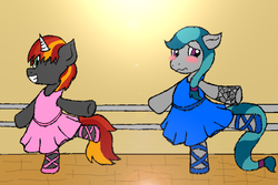 Size: 900x600 | Tagged: artist:heartistry, ballerina, ballerinas, ballet, ballet barre, ballet slippers, blushing, clothes, crossdressing, earth pony, embarrassed, femboy, femboys, male, oc, oc:mysti inferno, oc:precious gemstones, one eye closed, on one leg, safe, smiling, standing, tutu, tutus, unicorn, wink