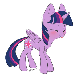 Size: 600x600 | Tagged: safe, artist:sion, twilight sparkle, alicorn, pony, :p, blushing, cute, eyes closed, female, mare, simple background, solo, tongue out, twiabetes, twilight sparkle (alicorn), white background