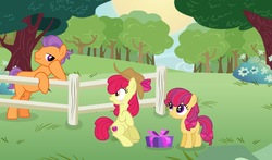 Size: 3288x1928 | Tagged: apple bloom, artist:staricy097, earth pony, female, filly, male, oc, oc:pear bloom, offspring, older, parent:apple bloom, parents:tenderbloom, parent:tender taps, pony, present, safe, shipping, straight, tenderbloom, tender taps