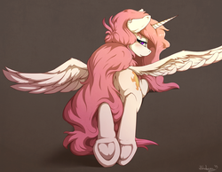 Size: 1800x1400 | Tagged: safe, alternate version, artist:blackkaries, princess celestia, alicorn, pony, blushing, butt, female, frog (hoof), looking at you, looking back, looking back at you, mare, messy mane, pink-mane celestia, plot, prone, rear view, solo, spread wings, underhoof, wings