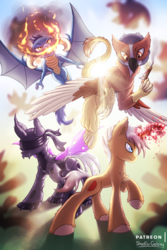 Size: 2000x3000 | Tagged: artist:shad0w-galaxy, blindfold, blood magic, changeling, changeling oc, commission, dragon, dungeons and dragons, fight, fire, glowing horn, griffon, griffon oc, gun, high res, horn, lens flare, oc, oc only, patreon, pen and paper rpg, pony, purple changeling, raised hoof, rpg, safe, smoke, unicorn, unshorn fetlocks, weapon