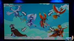 Size: 1920x1080 | Tagged: safe, artist:dormin-kanna, screencap, oc, oc only, oc:canni soda, oc:heart gold, oc:soul silver, ho-oh, lugia, pegasus, pony, galacon, galacon 2019, livestream, male, my little equestria, one stormy night, pokémon, ponified, stallion, youtube link