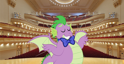 Size: 3824x1992 | Tagged: adult, adult spike, artist:aleximusprime, artist:disneymarvel96, bowtie, chubby, concert hall, conductor, conductor's baton, dragon, dragons in real life, edit, fat, fat spike, older, older spike, safe, spike, vector, vector edit, winged spike