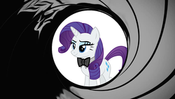 Size: 4648x2632 | Tagged: safe, artist:disneymarvel96, artist:sketchmcreations, edit, vector edit, rarity, pony, bowtie, eyeshadow, gun barrel, james bond, makeup, smiling, smirk, smug, vector