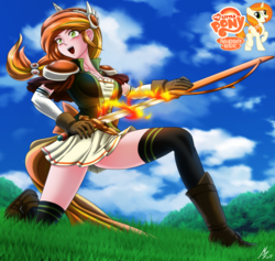 Size: 2268x2152 | Tagged: safe, artist:mauroz, oc, oc only, oc:pyra blaze, human, anime, boots, clothes, commission, female, fire, grass field, humanized, humanized oc, miniskirt, shoes, skirt, socks, solo, stockings, sword, thigh highs, thighs, weapon