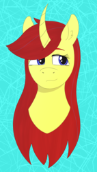 Size: 1499x2647 | Tagged: abstract background, artist:dyonys, bust, curved horn, derpibooru exclusive, female, front view, horn, mare, oc, oc:maya yamato, pony, safe, unicorn