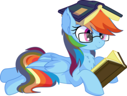 Size: 7538x5715 | Tagged: absurd res, adorkable, artist:cyanlightning, book, book hat, chest fluff, cute, dashabetes, dork, ear fluff, egghead dash, female, folded wings, glasses, mare, nerd, pegasus, pony, prone, rainbow dash, reading, safe, simple background, sitting, smiling, solo, .svg available, transparent background, vector, wing fluff, wings