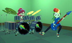 Size: 5120x3072 | Tagged: 3d, artist:n3onh100, djent, drums, equestria girls, equestria girls series, gmod, guitar, pinkie pie, rainbow dash, safe, shoes, sneakers, the rainbooms