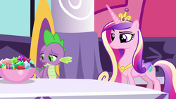 Size: 1280x720 | Tagged: alicorn, ashamed, bowl, canterlot, crown, cutie mark, disappointed, dragon, female, folded wings, frown, gem, jewelry, lidded eyes, male, mare, pony, princess cadance, princess spike (episode), raised eyebrow, regalia, sad, safe, screencap, slit eyes, spike, unamused, wings