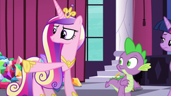 Size: 1280x720 | Tagged: alicorn, canterlot, crown, dragon, female, gem, jewelry, male, mare, pointing, pony, princess cadance, princess spike (episode), regalia, safe, screencap, spike, twilight sparkle, twilight sparkle (alicorn)