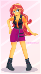 Size: 2200x4000 | Tagged: safe, artist:katakiuchi4u, sunset shimmer, equestria girls, equestria girls series, abstract background, blushing, boots, clothes, cute, female, freckles, high heel boots, looking at you, miniskirt, moe, peppered bacon, pose, shimmerbetes, shoes, skirt, smiling, solo, watermark