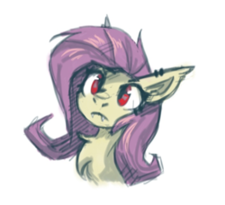Size: 635x580 | Tagged: safe, artist:amy-gamy, fluttershy, bat pony, pony, bat ponified, bust, chest fluff, ear piercing, fangs, female, flutterbat, piercing, portrait, race swap, red eyes, simple background, sketch, solo, white background