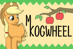 Size: 2268x1512 | Tagged: apple, applejack, artist:mkogwheel, badge, branches, earth pony, female, food, mare, name, pony, safe, smiling, solo
