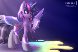 Size: 3000x2000 | Tagged: alicorn, artist:shad0w-galaxy, chest fluff, colored wings, female, high res, magic, mare, multicolored wings, patreon, pony, rainbow roadtrip, rainbow wings, safe, solo, speedpaint, speedpaint available, spoiler:rainbow roadtrip, twilight sparkle, twilight sparkle (alicorn), wing bling, wings