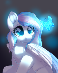 Size: 2000x2500   Tagged: safe, artist:alphadesu, oc, oc only, oc:contrail skies, butterfly, pegasus, pony, chest fluff, female, looking at something, mare, solo