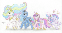 Size: 3272x1758 | Tagged: alicorn, alicorn tetrarchy, artist:kirbyliscious, atg 2019, colored pencil drawing, crown, jewelry, levitation, magic, majestic as fuck, newbie artist training grounds, new crown, one of these things is not like the others, pony, princess cadance, princess celestia, princess luna, regalia, safe, scroll, simple background, telekinesis, traditional art, tripping, twilight sparkle, twilight sparkle (alicorn), white background