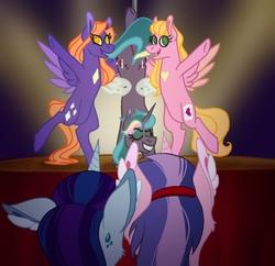 Size: 1588x1536   Tagged: safe, artist:artfestation, artist:kindheart525, oc, oc:amethyst glow, oc:bedbug, oc:royal splendor, pony, unicorn, kindverse, father and daughter, female, male, offspring, offspring's offspring, parent:fancypants, parent:oc:paint swirl, parent:oc:royal splendor, parent:rarity, parents:oc x oc, parents:raripants