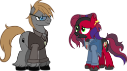 Size: 2000x1125 | Tagged: artist:theeditormlp, clothes, earth pony, female, glasses, jacket, male, mare, oc, oc:crimson glow, oc only, oc:the editor, pony, safe, simple background, stallion, sweater vest, transparent background, vector