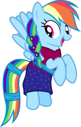 Size: 3000x4678 | Tagged: alternate hairstyle, artist:pilot231, braid, braided ponytail, canon, clothes, dress, female, floating, flower, flower in hair, mare, pegasus, pony, rainbow dash, rainbow dash always dresses in style, safe, simple background, solo, transparent background, vector