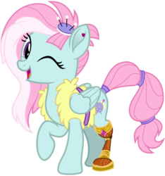 Size: 3000x3200 | Tagged: safe, artist:cheezedoodle96, kerfuffle, pegasus, pony, rainbow roadtrip, .svg available, amputee, belt, clothes, ear piercing, earring, female, jewelry, mare, one eye closed, piercing, pincushion, prosthetic leg, prosthetic limb, prosthetics, raised hoof, scar, scrunchie, show accurate, simple background, solo, svg, tail wrap, transparent background, vector, vest, wink