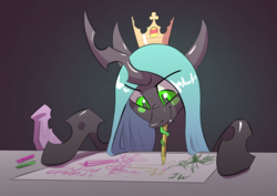 Size: 3508x2480 | Tagged: artist:underpable, atg 2019, burger king, changeling, changeling queen, crayon, crown, cute, cutealis, drawing, female, fridge art (literally), implied twilight sparkle, jewelry, long tongue, mean twilight sparkle, mouth hold, newbie artist training grounds, prehensile tongue, quadrupedal, queen chrysalis, regalia, safe, solo, tongue out, twilog