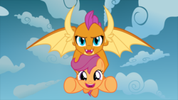 Size: 1920x1080 | Tagged: safe, artist:phucknuckl, scootaloo, smolder, dragon, pegasus, pony, carrying, cute, cutealoo, dragoness, duo, female, filly, flying, friendship, holding a pony, scootaloo can fly, scootalove, sky, uplifting, wholesome