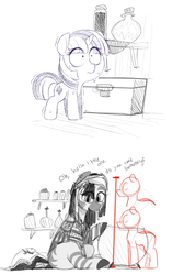 Size: 1132x1688 | Tagged: artist:dsp2003, artist:whydomenhavenipples, edit, female, macro, mare, oc, pony, safe, shaking, sitting, size comparison, size difference, sweat, this will end in racism, twiggles, twilight sparkle, unicorn, zebra