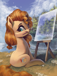Size: 3000x4000 | Tagged: safe, artist:vanillaghosties, pear butter, earth pony, pony, applejack's mom, atg 2019, brush, canvas, cute, female, freckles, grass, looking at you, mare, mouth hold, nature, newbie artist training grounds, outdoors, paintbrush, painting, scenery, sitting, solo, tree, water