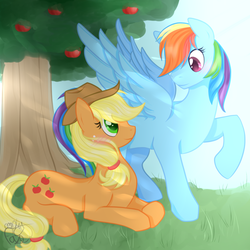 Size: 1200x1200 | Tagged: appledash, applejack, apple tree, artist:emptyfaze, blushing, earth pony, female, lesbian, looking at each other, mare, pegasus, pony, prone, rainbow dash, raised hoof, safe, shipping, spread wings, tree, wings