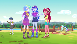 Size: 1263x720 | Tagged: safe, screencap, bon bon, gloriosa daisy, lyra heartstrings, microchips, princess celestia, princess luna, sweetie drops, equestria girls, legend of everfree, legend of everfree - bloopers, animated actors, boots, camp everfree logo, camp everfree outfits, clothes, converse, female, flower, flower in hair, glasses, legs, male, principal celestia, shoes, shorts, sky, sneakers, socks, vice principal luna