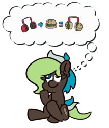 Size: 900x1050 | Tagged: artist:threetwotwo32232, atg 2019, burger, earth pony, female, food, hamburger, headphones, mare, newbie artist training grounds, oc, oc:bright idea, oc only, pony, safe, simple background, solo, thinking, transparent background