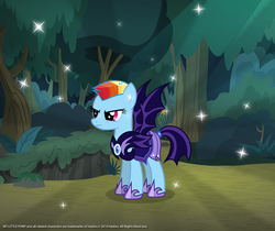 Size: 940x788 | Tagged: safe, rainbow dash, bat pony, pony, the cutie re-mark, alternate hairstyle, alternate timeline, armor, female, forest, frown, gameloft, hoof shoes, mare, night guard armor, night guard dash, nightmare takeover timeline, short mane, solo, sparkles