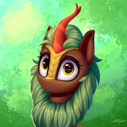 Size: 3000x3000 | Tagged: :<, artist:setharu, bust, cinderbetes, cinder glow, cute, female, frown, kirin, kirinbetes, looking at you, portrait, reflection, safe, solo, sounds of silence, summer flare, wide eyes