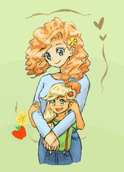 Size: 728x1004 | Tagged: safe, artist:puri__kyua, applejack, pear butter, equestria girls, apple, cute, equestria girls-ified, female, flower, food, green background, heart, jackabetes, mother and daughter, pearabetes, pixiv, simple background, younger